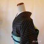 大島紬 銀鼠に網目の小紋 袷