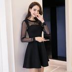 【dress】大振り裾チュール透かし彫りチャーミングワンピース 23874361
