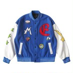 MAISON EMERALD Star Embroidery Baseball Jacket BLUE