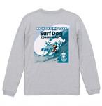 No.2020-welshcorgi-longts2-002 :5.6オンス ロングスリーブ Tシャツ(1.6インチリブ)  サーフシリーズ コーギーサファーマン バージョン2 big wave NO SURF NO LIFE