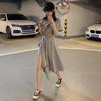【dress】韓国系不規則ボウタイラウンドネック無地ワンピース