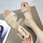 【shoes】2WAYフェミニン注目されるチャンキーヒール気質あふれシューズ