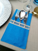 Curtlery Pocket Line Lace カトラリーポケットラインレース TurkishBlue