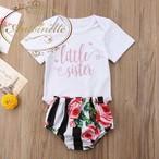 kids 子供服 女の子 チェック リボン tシャツ 半袖 ズボン かわいい ボーダーライン ストライプ 花柄 70 80 90 100