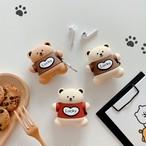 AirPods ケース 韓国 ぷっくりベアーモチーフケース エアポッズ エアポッド カバー シリコン くま フック付き かわいい 大人 可愛い お洒落 イヤホンケース