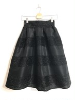 長め丈★グリッターボーダースカート ブラック