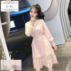 No.352 韓国ワンピース きれいめワンピース 大人可愛いワンピース フレアワンピース フェミニンワンピース 2color