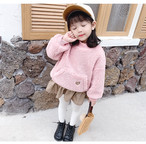 【子供服】売れ筋ハート柄暖かい長袖ガールズワンピース24088229