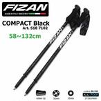 FIZAN フィザン トレッキングポール アジャスタブル 可変 58-132cm COMPACT Black 2本セット FZ-7102 軽量 アルミニウム fz-7102