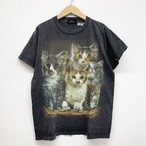 vintage double face printing cat tee -black-