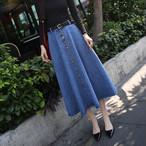 【bottoms】スカートデニムおしゃれカジュアルAラインハイウエストファッション