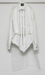 3Line Zip Shirts Set (Blouson + Sleeveless) (White)