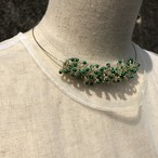 aK beads wire neckless 9 silver green