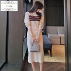 No.467 韓国ワンピース きれいめワンピース 大人可愛いワンピース タイトワンピース ニットワンピース