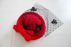 トーク帽(チュール、あじさい付き)赤