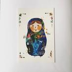 ポストカード「絵本の中のマトリョーシカ(青)」