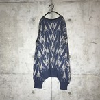 [used] Thin blue patterned all over knit