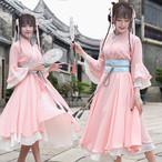 刺繍 着物風 スイング フレア ワンピース 民族 ドレス 巫女 チャイナ