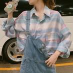 【tops】チェック柄カジュアルシングルブレストシャツ26675884