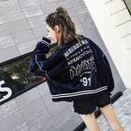 スポーティー ブルゾン 長袖 ストリート系 ロゴ オーバーサイズ レディース オルチャン 韓国 原宿