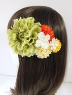 黄緑のダリア、オレンジマム、アジサイの髪飾り