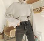 クロップドタートルセット タートル クロップドトップス 韓国ファッション