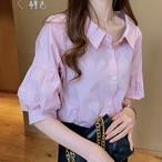 【tops】気質あふれランタンスリーブ可愛いフェミニンシャツ