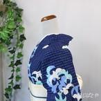 綿浴衣 濃紺に波と海鳥