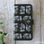 きのこ チョコレートブラウン 北欧 手帳型スマホケース iPhone/android