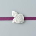 白磁の帯留 バラ