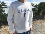 alohaサイン クルーネックニット(white)