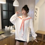 【tops】超人気セーラーカラー長袖配色パーカー22711372