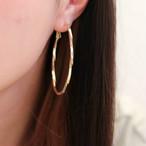 ポストsilver925 Gold twist hoop pierce (ゴールドツイストフープピアス)