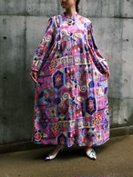 Vintage pink mix print long dress ( ヴィンテージ ピンク ミックス柄 ロングワンピース )