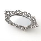 アンティーク 錫製 オーバルミラー トレイ 小物 アクセサリー ジュエリー トレー 宝石 置き おしゃれ 大人 かわいい