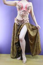 エジプトベリーダンス衣装 ターキッシュスタイル 三点セット ピンク&ゴールドスカート