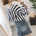 【新作10%off】casual striped long shirts 2679