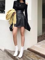 アンバランスレザースカート スカート レザースカート 韓国ファッション