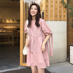 【dress】ワンピース清新無地レトロ簡約リボン付き
