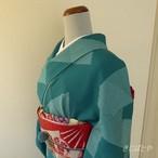 正絹ちりめん 青碧色の小紋 袷の着物
