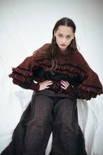 予約販売【 EBONY】fringe hand knit-orange×khaki