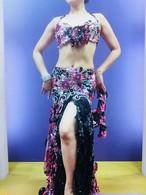 ベリーダンス衣装 コスチューム サクラ柄ブラックピンク