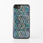 天然貝ケース★iPhone/Xperia/Galaxy スマホケース(ブルーモロッコタイル)螺鈿アート ハードケースコーティングタイプ