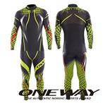 ONE WAY クロスカントリースキー レーシングスーツ スノーサーペント ツーピース ブラック/イエロー M レース用 ow710013