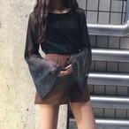 【tops】長袖無地セクシーミニ丈ラウンドネック軽熟風Tシャツ21862665