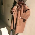 【outer】個性デザイン無地シンプルファッション折り襟コート 23455082