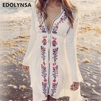 【FlamingoBeach】boho white cover up