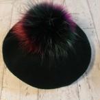 フェレットファー ミックスファー ポンポン ベレー帽(4カラー)