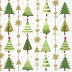 【Paper+Design】バラ売り2枚 ランチサイズ ペーパーナプキン FINE LITTLE TREES ホワイト×ゴールドパール