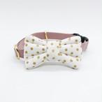 猫 首輪 リボン アンティークピンク×白 ゴールド水玉 USAコットン Robert Kaufman Fabrics
